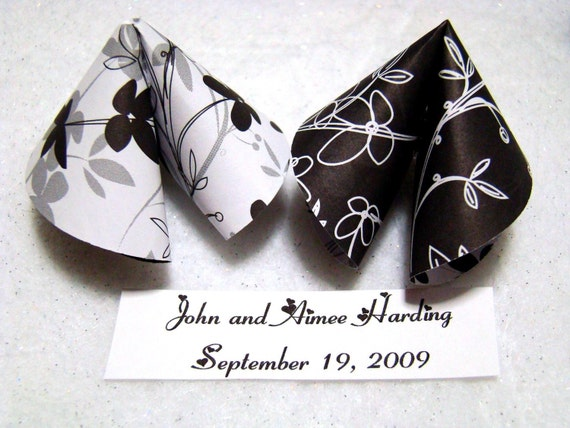 Origami Fortune Cookies - Black and White Wedding - Set of 50