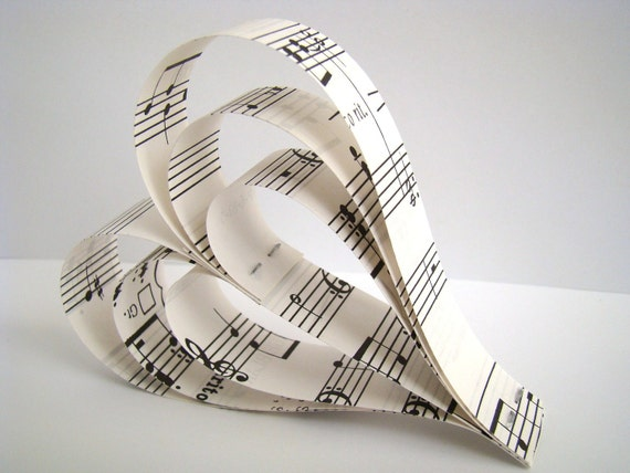 Hanging Paper Hearts - Recycled Sheet Music - Set of 2