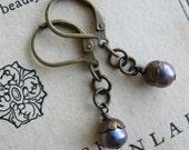 Lavender Freshwater Pearl Earrings . Purple Earrings - Jane Austen Earrings
