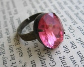 Rose Pink Jewel Ring . Old Hollywood Ring . Adjustable Ring - Lauren Bacall