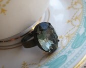 Grey Black Diamond Adjustable Ring . Classic Hollywood Glam . Oval Shaped Jewel- FREE SHIPPING SALE