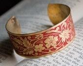 Rustic Red Brass Cuff Bracelet . Cherry Red Bracelet . Shabby Weathered Cuff