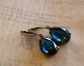 Navy Blue Jewel Earrings . Montana Sapphire Earrings . Estate Style Jewelry - Olivia