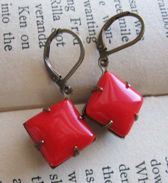 Cherry Red Vintage Earrings . Old Hollywood - Lucy Earrings