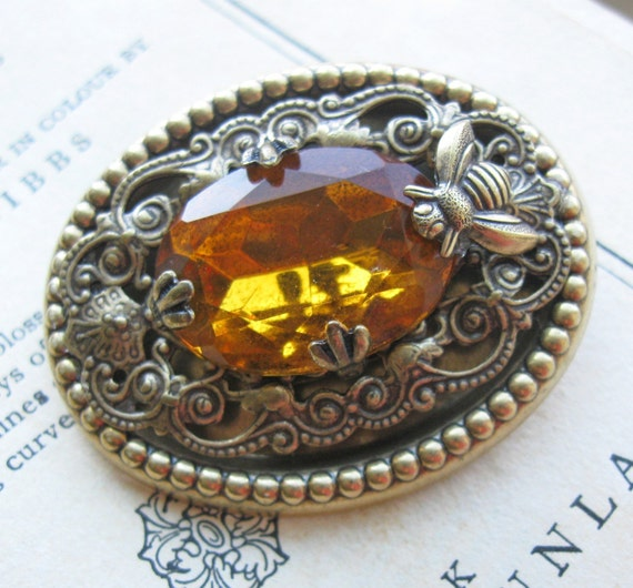 Golden Honey Bee Brooch . Handmade Brooch . Old Hollywood Estate Style Brooch - Ginger and Honey