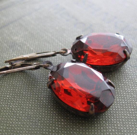 Dark Red Jewel Earrings . Madeira Topaz Earrings . Estate Style Jewelry - Fay