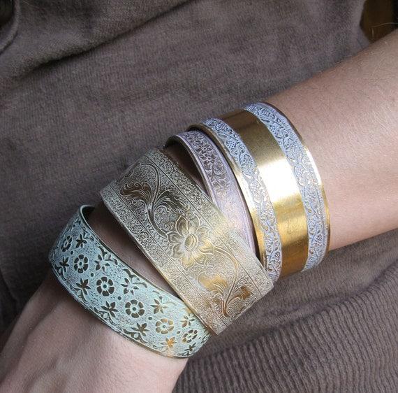 Brass Cuff Bracelet . Shabby Rustic Weathered Brass Cuff Bracelet White Cream Nougat- FREE SHIPPING SALE