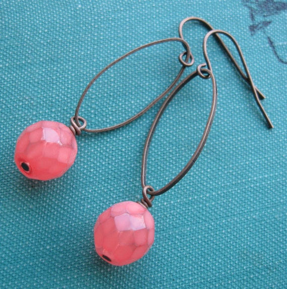 Coral Pink Orange Czech Glass Antiqued Brass Earrings - Good Day Sunshine- FREE SHIPPING SALE