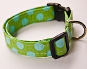 Green with Blue Dots Handmade Dog Collar