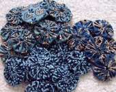 "Civil War Era Reproduction 1"" mini YOYO pieces  Colonial  BLUE prints Quilt block applique Garland Rosettes floral  30 yoyo pieces"