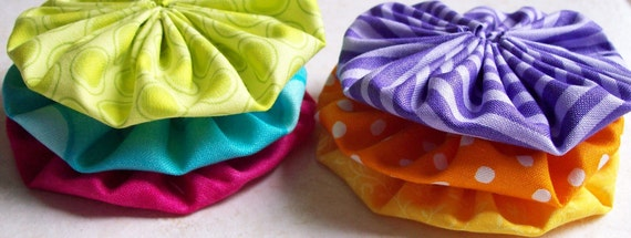 Large 2-1/2-inch Fabric YO YO bright NEON colors -6 handmade yoyo's-use to decorate girls headbands hairclips and brooches scrapbook trim
