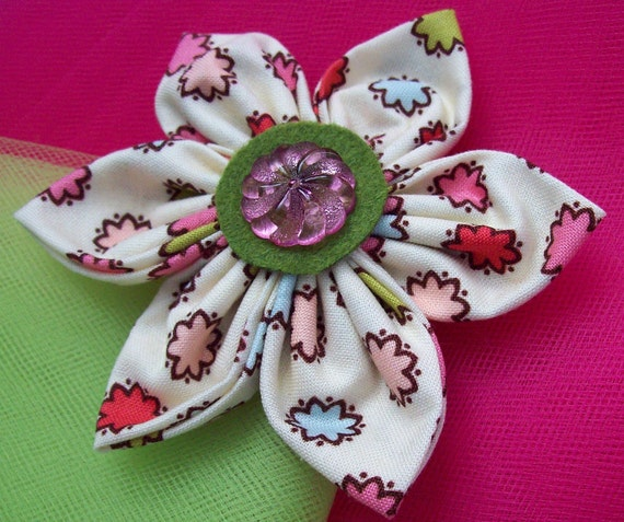 Handmade Fabric Flower with Vintage Style Button embellishment  4-inches Cream with Raspberry Floral print