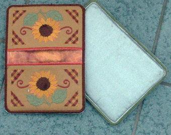 Potholder, Sunflower Potholder, Embroidered Potholder, sunflower hot pad, embroidered hot pad, sunflower