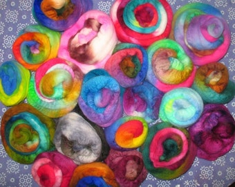 SPRING CLEANING SALE -- Wooly Cupcakes -- Sampling of Hand dyed Wool Top -- 1 lb