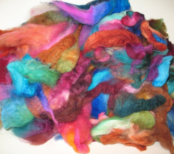 Wooly Crumbs -- Little Scrappy Bits---  1 lb FEED YOUR CARDER -- hand-dyed wool