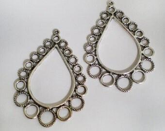 Antique silver bubble chandelier teardrop 2pcs