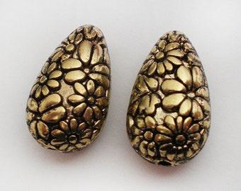 Antique Gold floral etched Acrylic teardrop bead - 6pcs
