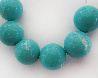12mm Vintage Turquoise with White splatter round Lucite beads - 6pcs