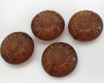 SALE - 20mm Vintage Ornate Etched Topaz Puff Coin acrylic beads - 4pcs