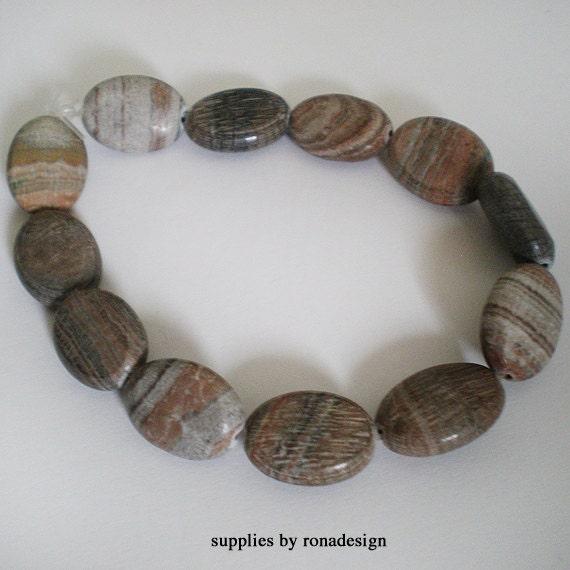 14x10mm Silver leaf Jasper Oval stones - 12pcs