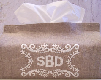 Monogram Accents Embroidery Designs sc045d and Monogrammed Tissue Box Cover Sewing Directions in PDF