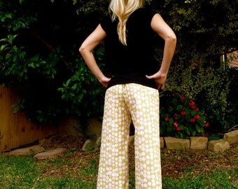 Ruffle Samurai PANTS - Amy Butler - Martini Dots - Made in ANY Size - Boutique Mia