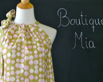Pillowcase DRESS or TOP - Amy Butler - Martini Dot - Made in ANY Size - Boutique Mia