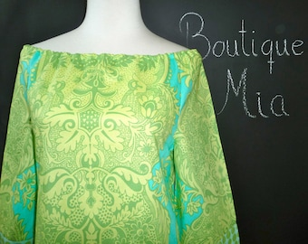 Boatneck DRESS or TOP - 3/4 length sleeves - Amy Butler - Love - Made in any Size - Boutique Mia by CXV
