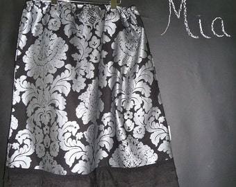 Ruffle A-line SKIRT - Damask - Made in ANY Size - Boutique Mia