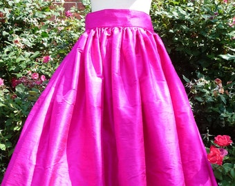 Raw SIlk - Floor Length SKIRT -  Pick your own COLOR - Made in ANY Size - Boutique Mia