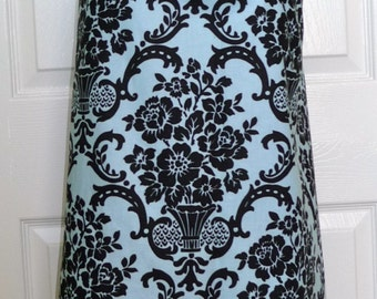 A-line SKIRT - Blue and Black Damask - Made in ANY Size - Boutique Mia