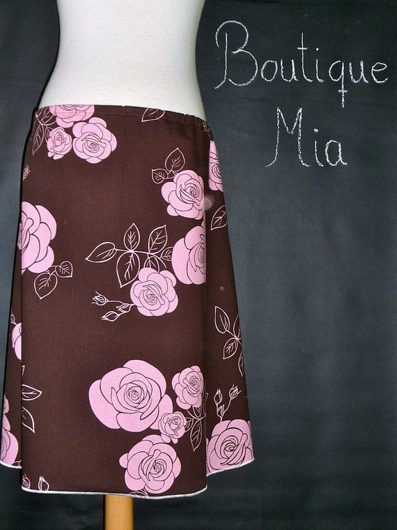 A-line SKIRT - Roses - Made in ANY Size - Boutique Mia