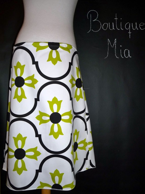 Heavy Weight - A-line SKIRT - Vicky Payne - Damask -  Made in ANY Size - Boutique Mia