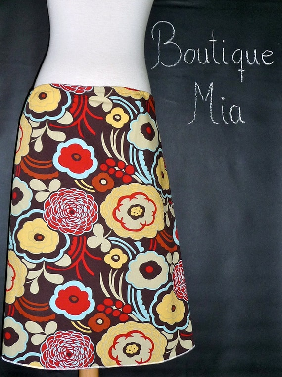A-line SKIRT - Alexander Henry - Mocca - Made in ANY Size - Boutique Mia
