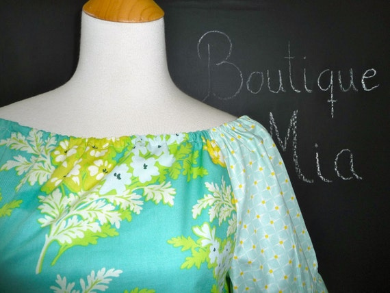 Boatneck DRESS or TOP - Shirred 3/4 length sleeves - Heather Bailey - Nicey Jane - Made in any Size - Boutique Mia by CXV