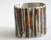 Silver Ring, Oxidized, Bark, Tree, Solid Sterling Silver, Colourfully Oxidized, Nature, Art