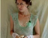 SALE Toadstool Dropwaist Dress... size Medium... Eco Friendly Recycled Crochet Faun Nymph Pixie Fairy Fantasy Alternative Bridesmaid