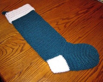 22 inch Green and White Christmas Stocking