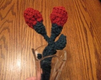 A dozen Long stem crocheted Rose buds