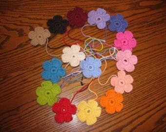 2.25 inch crocheted flower embellishments - you pick color(s)