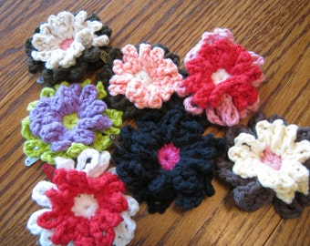 Crocheted two-tiered flower hair clips