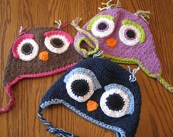 Owl Earflap Beanie - You choose colors