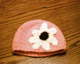 Pink Cotton Flower Beanie