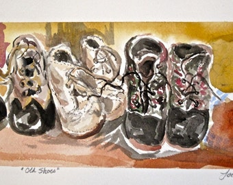 SALE  Victorian Baby Shoe painting