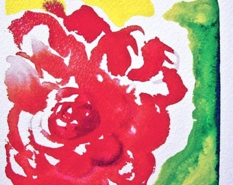 ROSE Original abstract water color painting by Lora Riethmeier