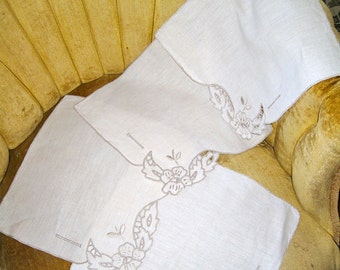 Set of four antique linen napkins