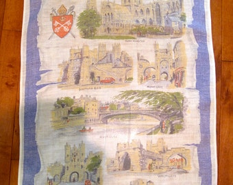 Vintage Irish Linen Souvenir  Tea Towel City of York