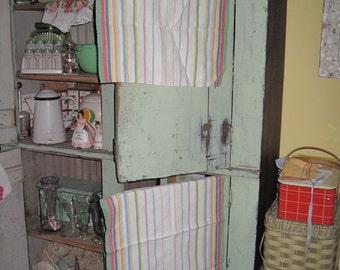 Vintage Matching Linen Rainbow Dishcloth's