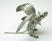 Winged Sprightly Mouse - Bronze Sculpture - 7 and a bit inches nose tip to tail tip - Objet d'art metal ornament and luxury paperweight.