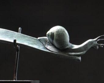 Snail shoe horn. Bronze sculpture, edition of 25